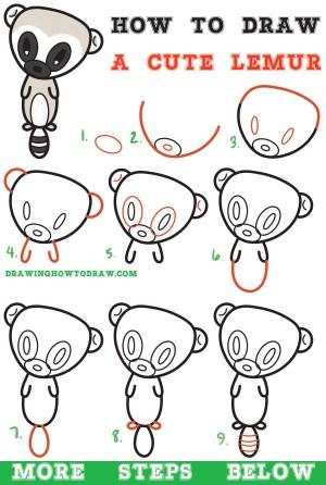 step easy drawing cartoon tutorial lemur draw beginners learn kawaii steps drawings tutorials chibi drawinghowtodraw simple children drawingfusion informacion mas