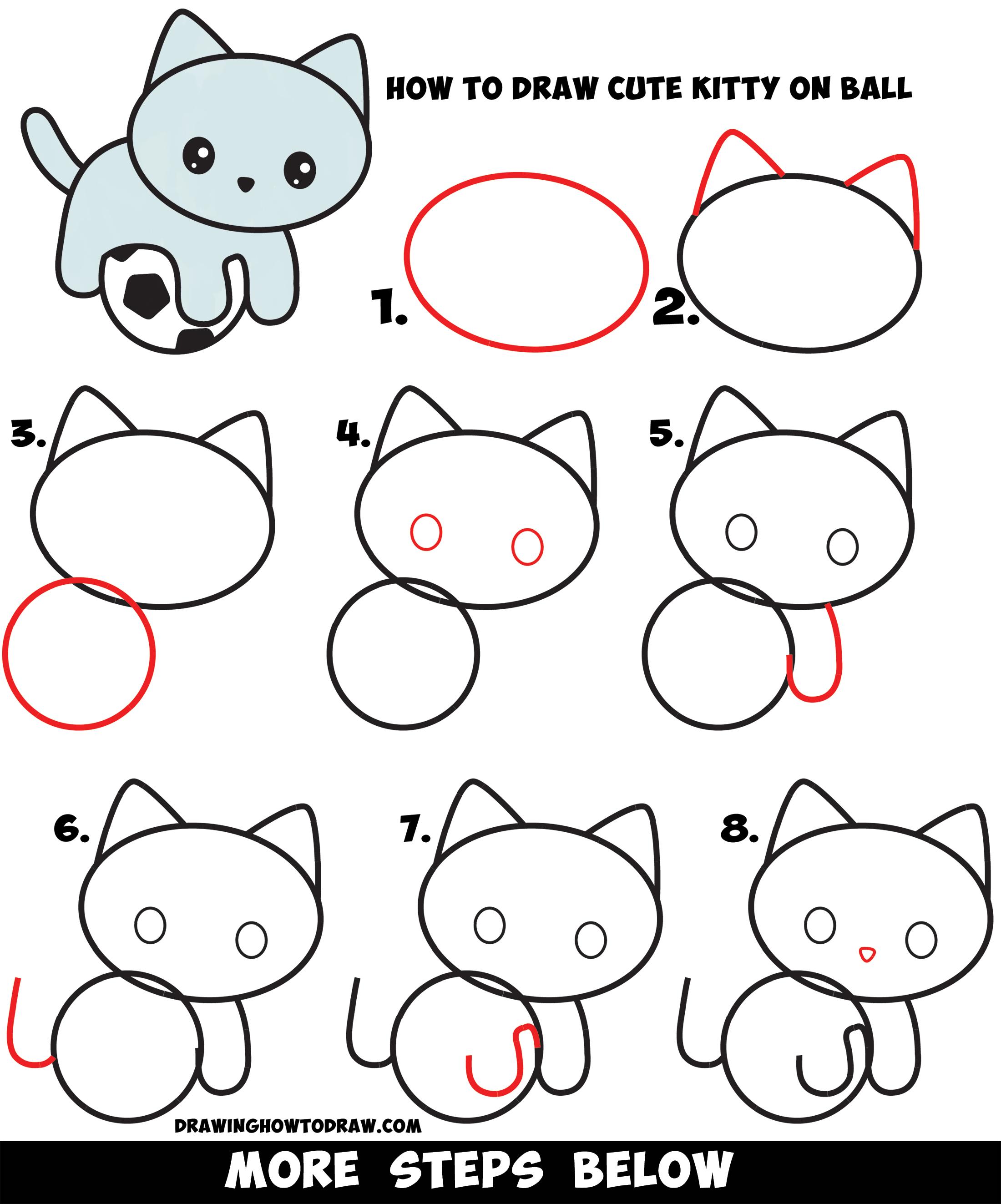 Easy Kitten Drawing : kitten, drawing, Kitten, Playing, Soccer, Drawing, Tutorial, Tutorials