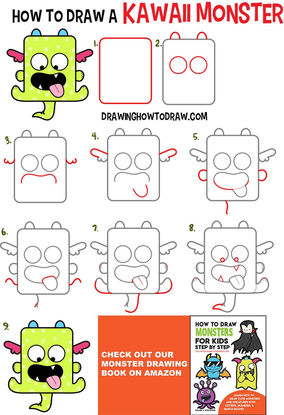 Simple Monster Drawing : simple, monster, drawing, Kawaii, Monster, Drawing, Tutorial, Tutorials