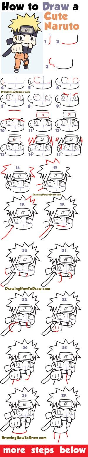 naruto chibi drawings drawing easy draw beginners super simple steps kawaii zona