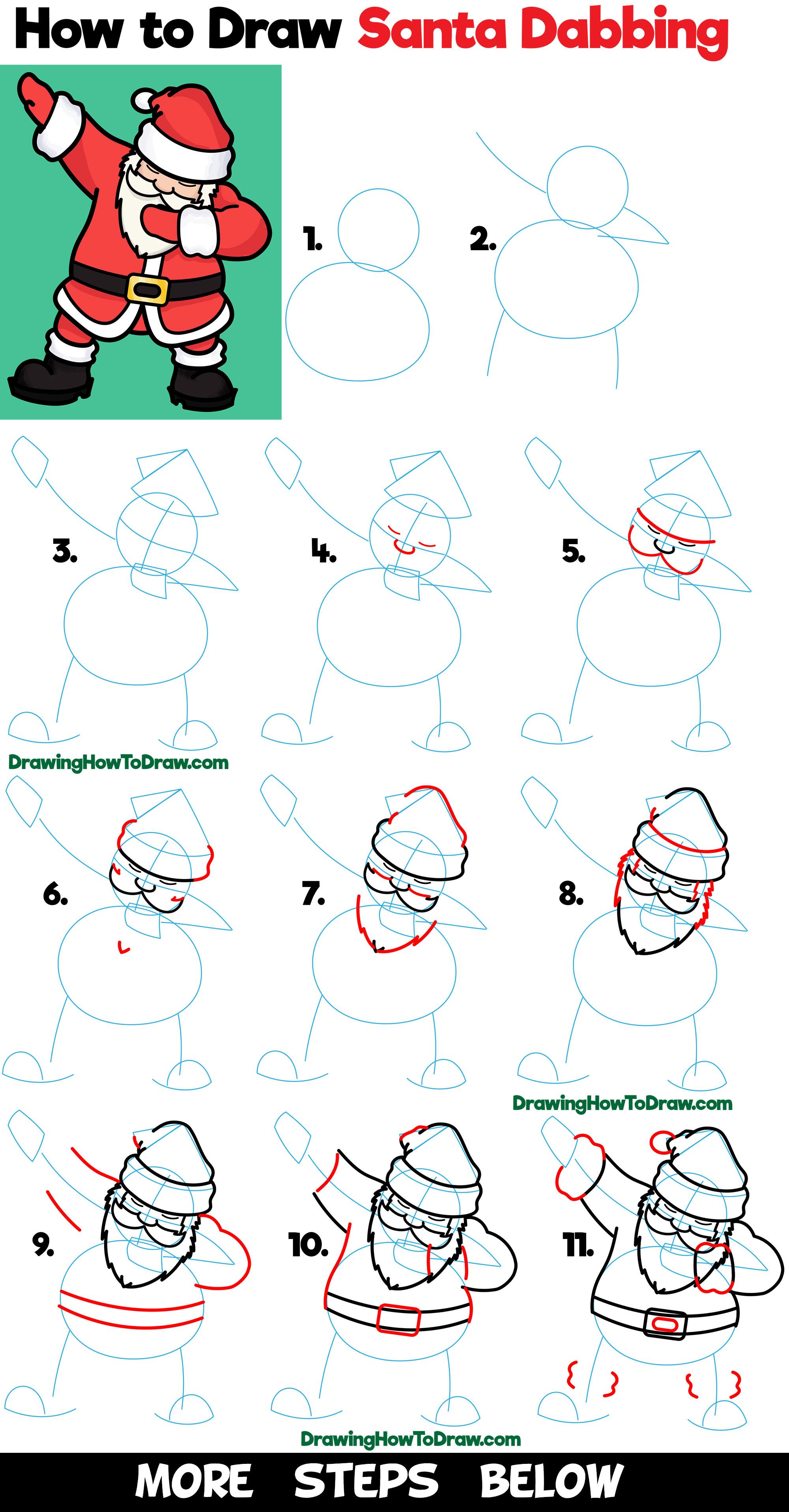 Step By Christmas Drawings Easy Santa Www Galleryneed Com