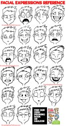 Facial Expressions and Silly Cartoon Faces Reference Sheet How to Draw Step by Step Drawing Tutorials