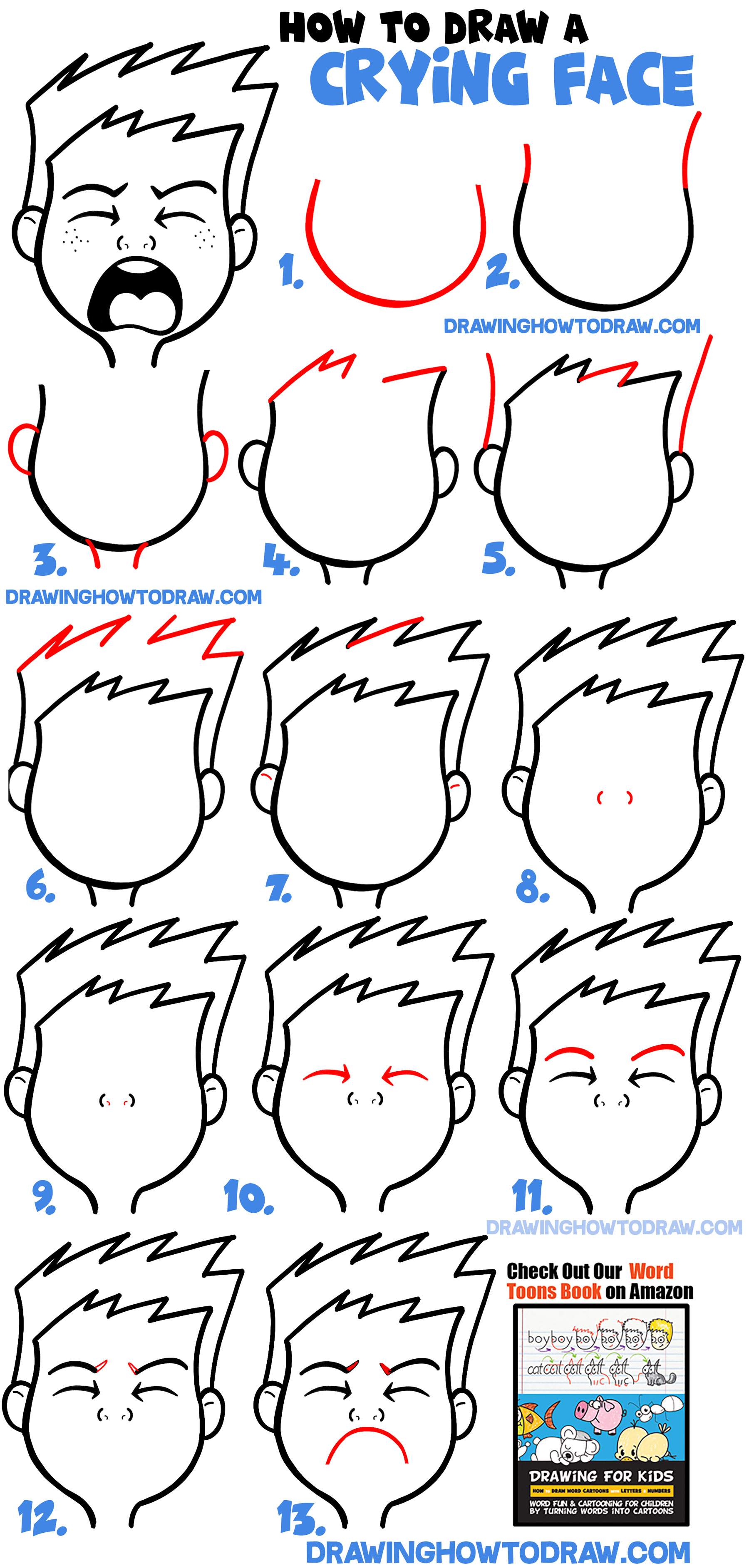 How To Draw Crying : crying, Cartoon, Facial, Expressions, Crying,, Sobbing,, Bawling, Drawing, Tutorials
