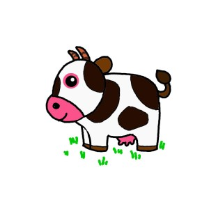 cow draw easy howtos cartoon colored