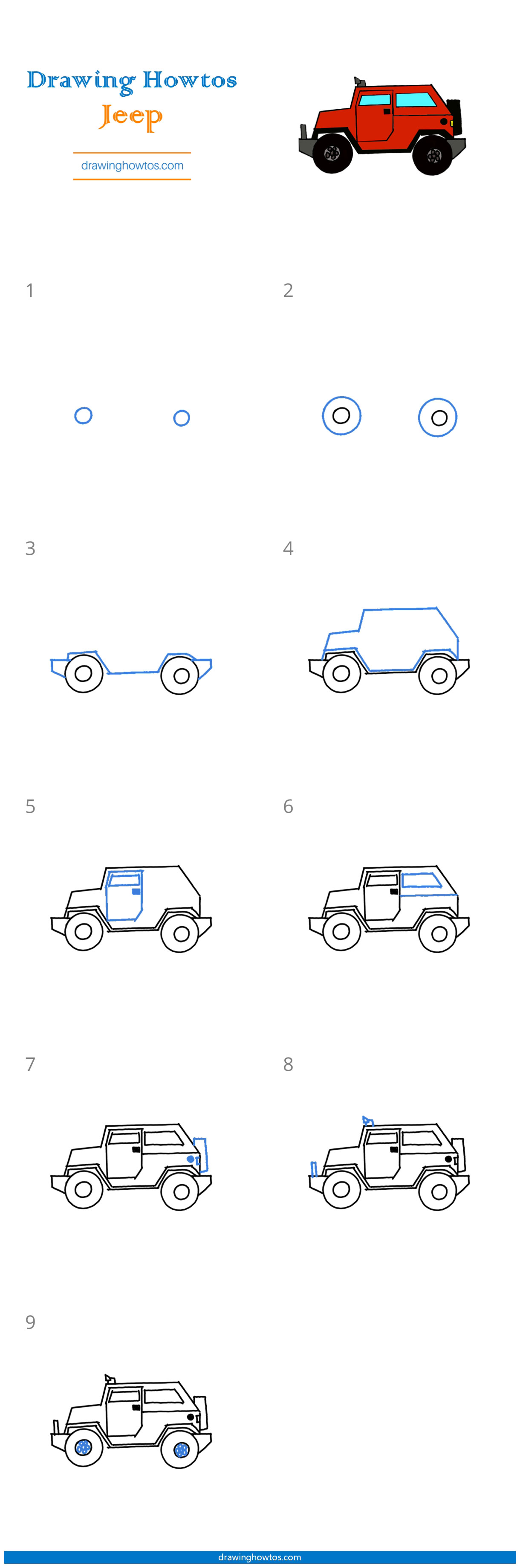 Easy Jeep Drawing : drawing, Drawing, Guides, Howtos