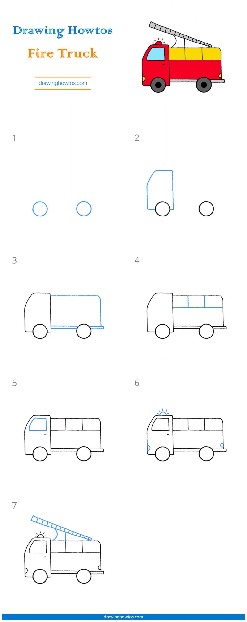 How To Draw A Fire Truck : truck, Truck, Drawing, Guides, Howtos