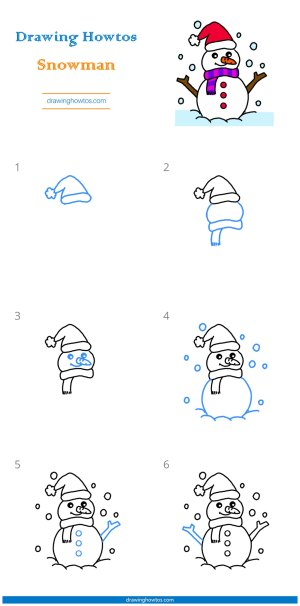 snowman drawing draw step easy steps printable pdf tutorial complete