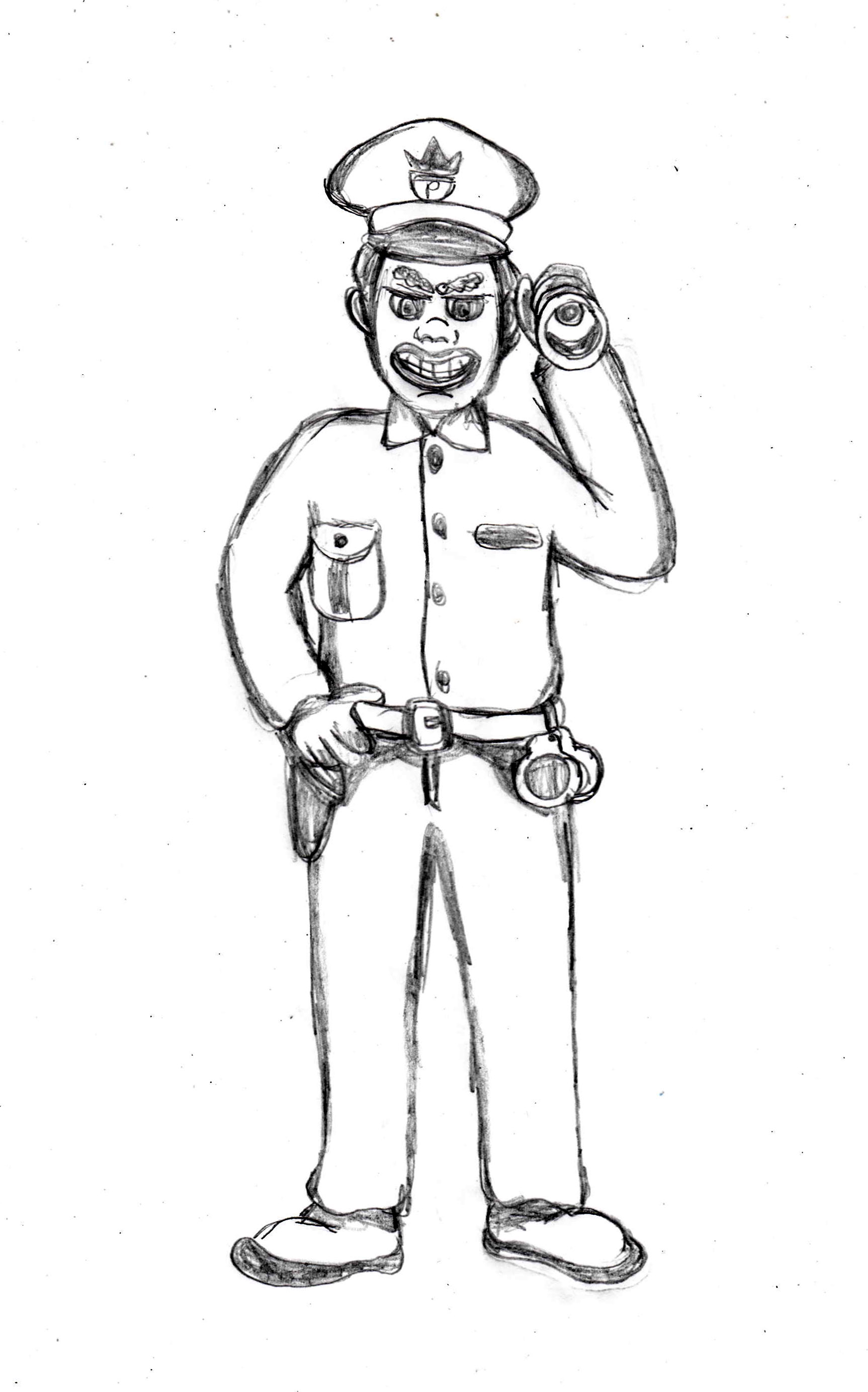 Sketch Of A Cartoon Policeman Coloring Pages