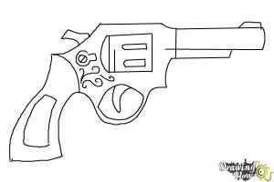 gun drawing draw simple pencil step sketch steps realistic drawingnow coloring