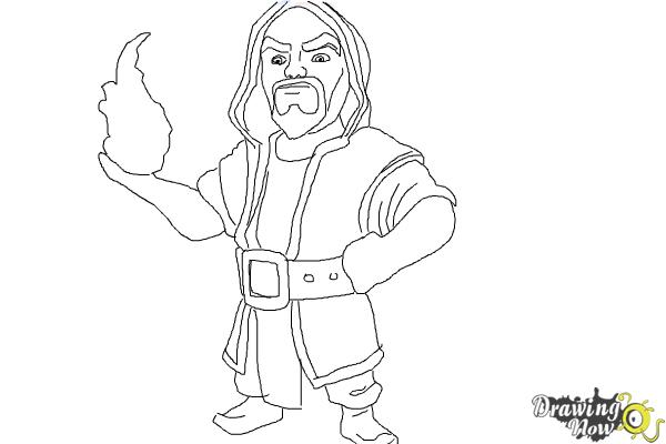 how to draw clash of clans wizard  drawingnow