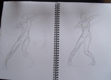 Figure drawing practice from Poses for Artists