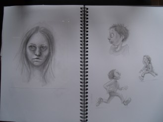 Doodling - from my imagination (the girl) and from 'A Brain is for Eating' D and A Jacobs, illustrated by Scott Brundage