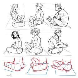 sitting drawing poses reference pose character cross legged references ground anatomy manga anime drawings knees draw angles figure dibujo body