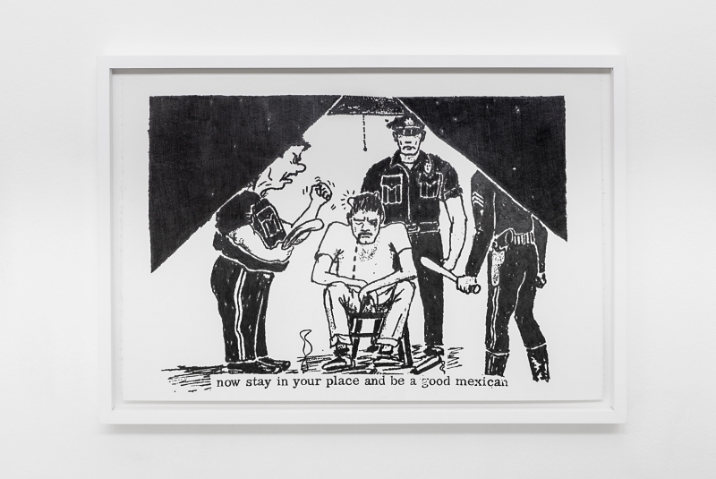 Andrea Bowers, Fascist Police (Inside Eastside 1968, no.14, pg 7), 2015 Graphite on paper, 62 x 43.5 cm Courtesy the artist and kaufmann repetto, Milano/New York. Photograph by Andrea Rossetti