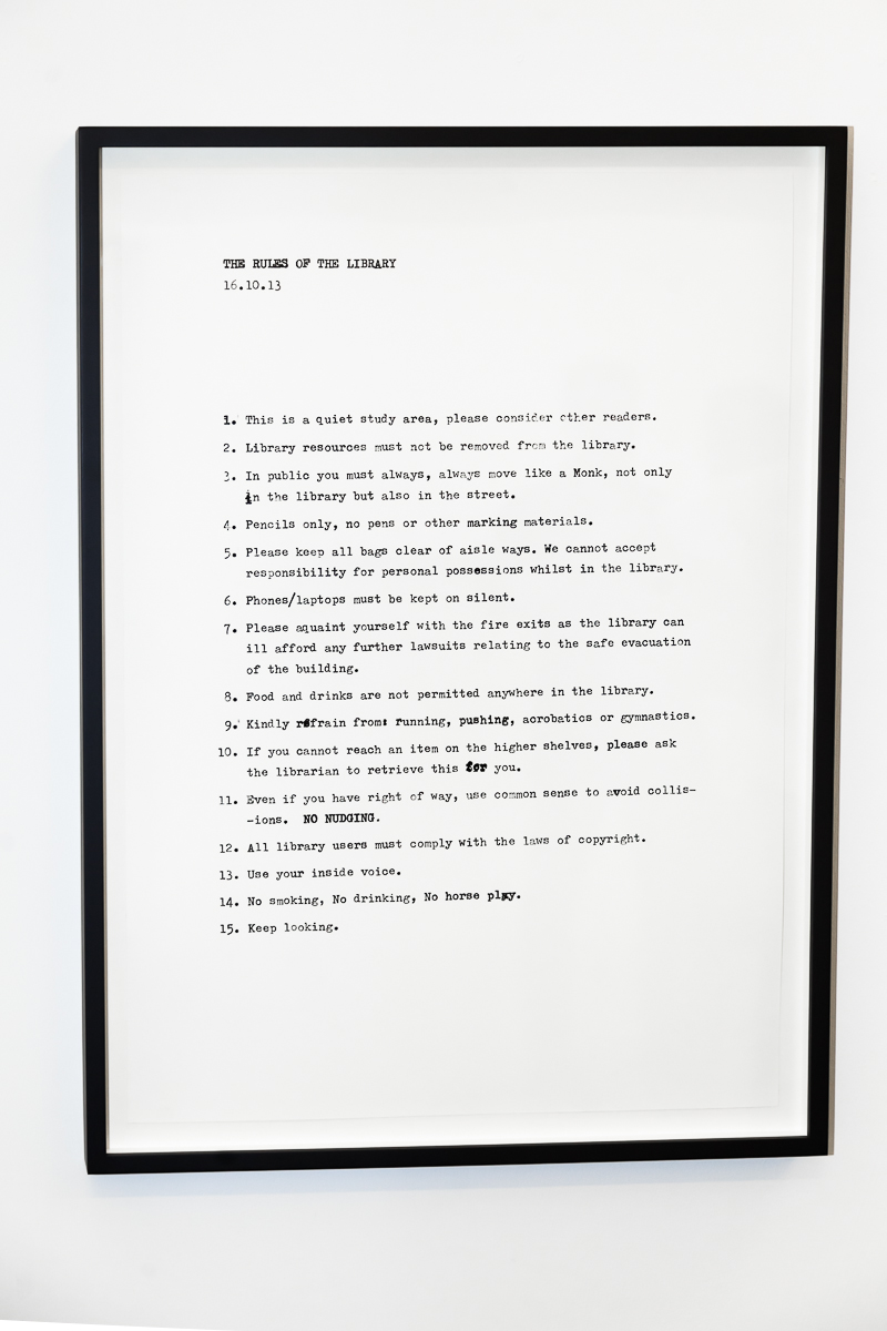 Peter Liversidge, The Rules of the Library, 2014 » Shop