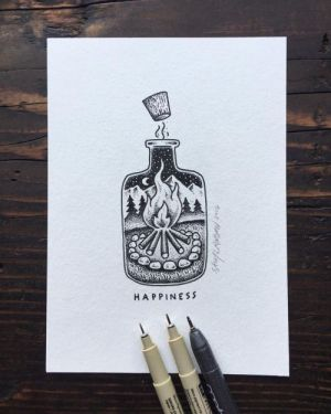 drawing cool meaning drawings tattoo pencil simple sketches happy bottle happiness meaningful illustration sketch larson sam tattoos zeichnen geschenk nature