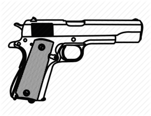 gun drawing pistol army weapon line 1911 police icon sketch guns m1911 drawn clipartmag realistic pencil lebron colorful dimension