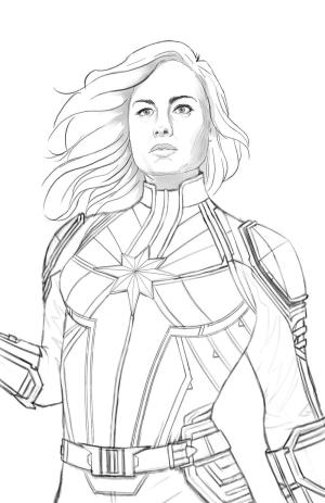 marvel captain drawing sketch easy characters danvers carol drawingskill