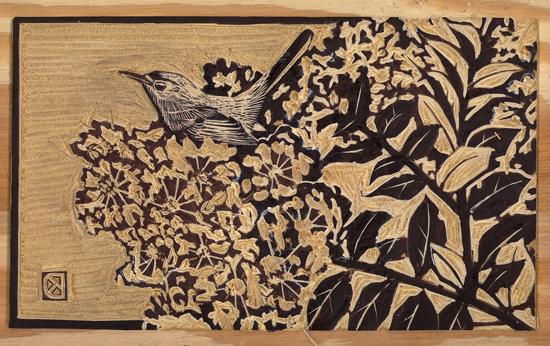 bluegray gnatcatcher in crape myrtle, carved block