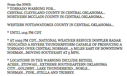 This is from the weather blog at KOCO's website, a good source of information, if you happen to have internet in your storm shelter...