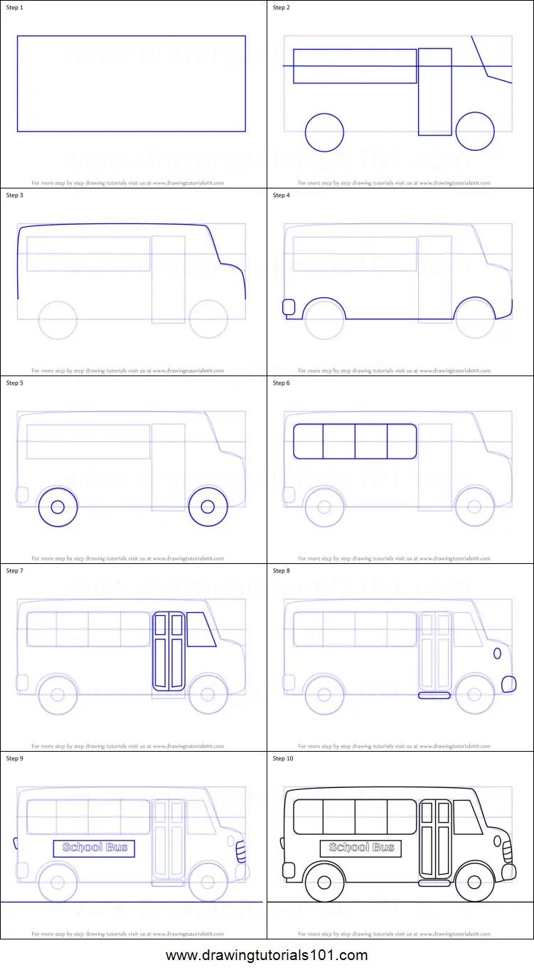 School Bus Drawing : school, drawing, Cartoon, School, Printable, Drawing, Sheet, DrawingTutorials101.com