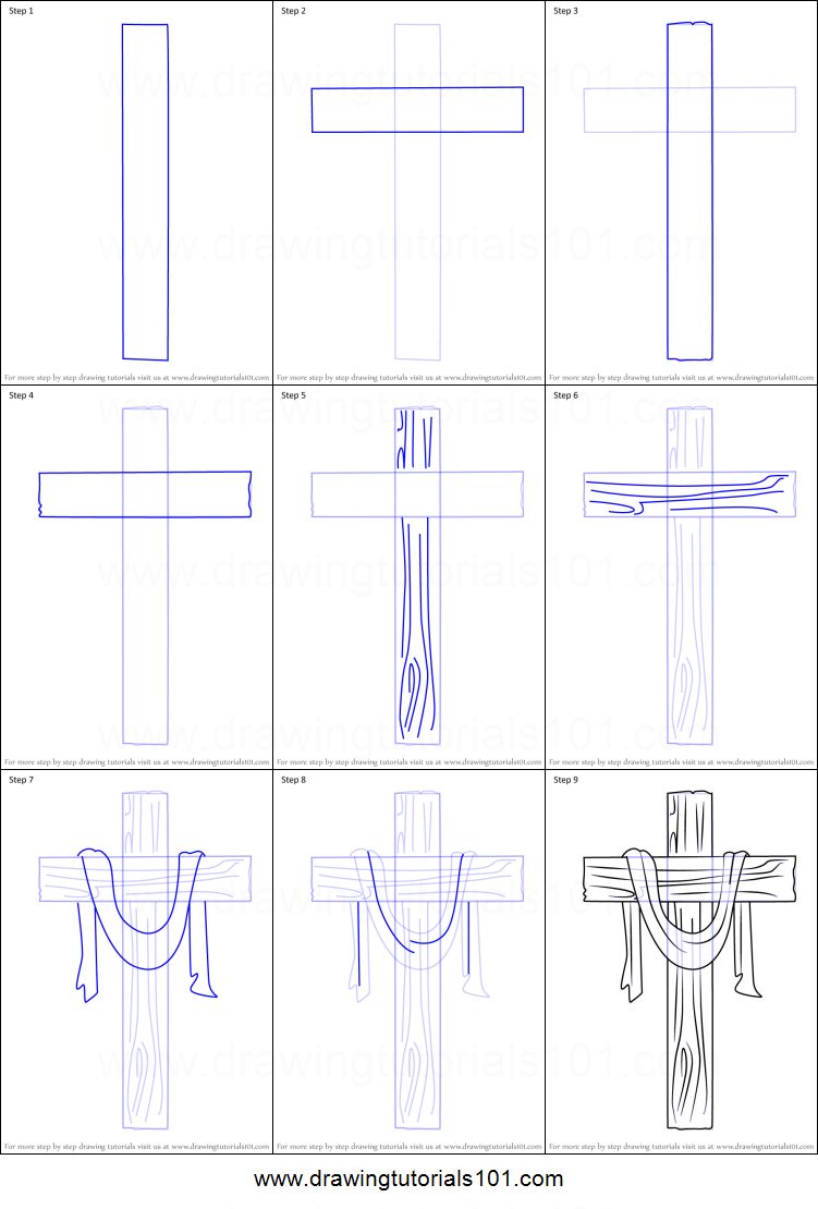 How To Draw A Cross Step By Step : cross, Cross, Printable, Drawing, Sheet, DrawingTutorials101.com