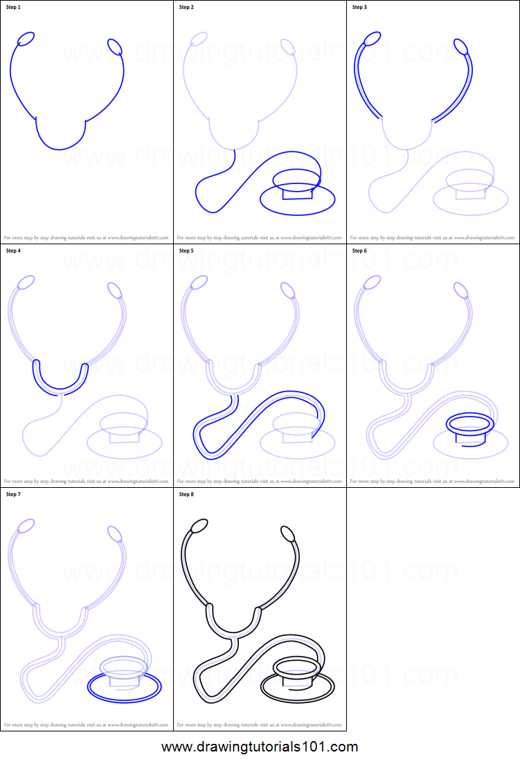 Stethoscope Drawing Easy : stethoscope, drawing, Stethoscope, Printable, Drawing, Sheet, DrawingTutorials101.com