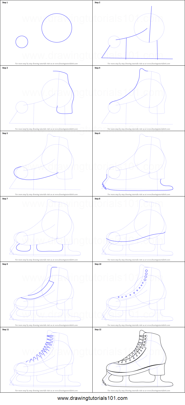 How To Draw Ice Skates : skates, Skates, Printable, Drawing, Sheet, DrawingTutorials101.com
