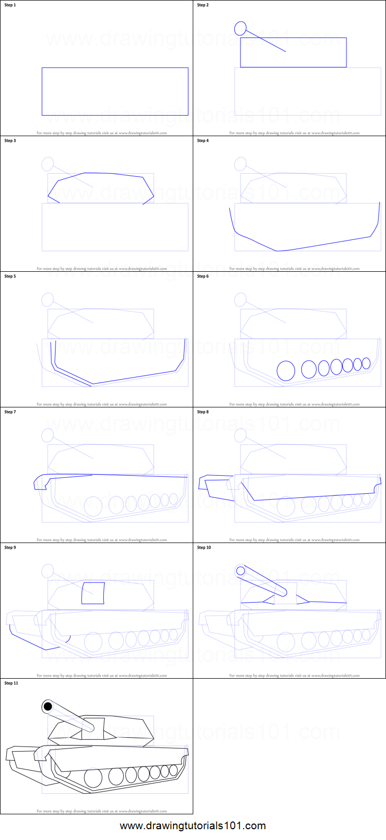 How To Draw A Tank Easy : Simple, Printable, Drawing, Sheet, DrawingTutorials101.com