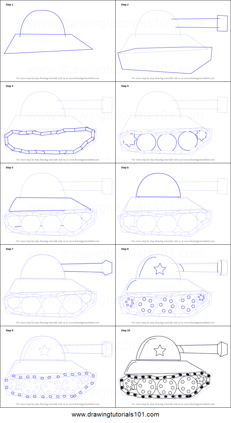 How To Draw A Tank Easy : Printable, Drawing, Sheet, DrawingTutorials101.com