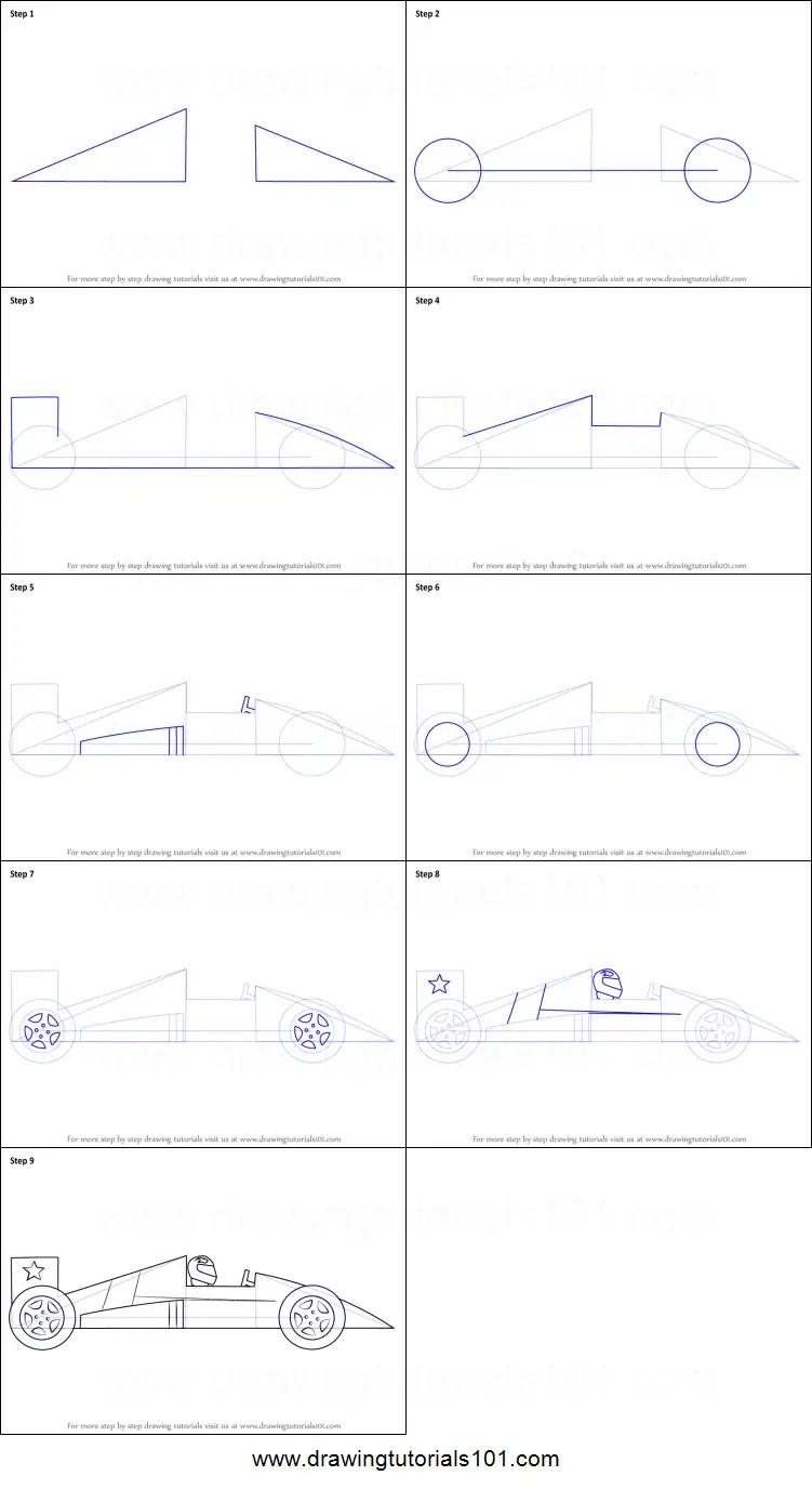 How To Draw A Race Car : Racing, Printable, Drawing, Sheet, DrawingTutorials101.com