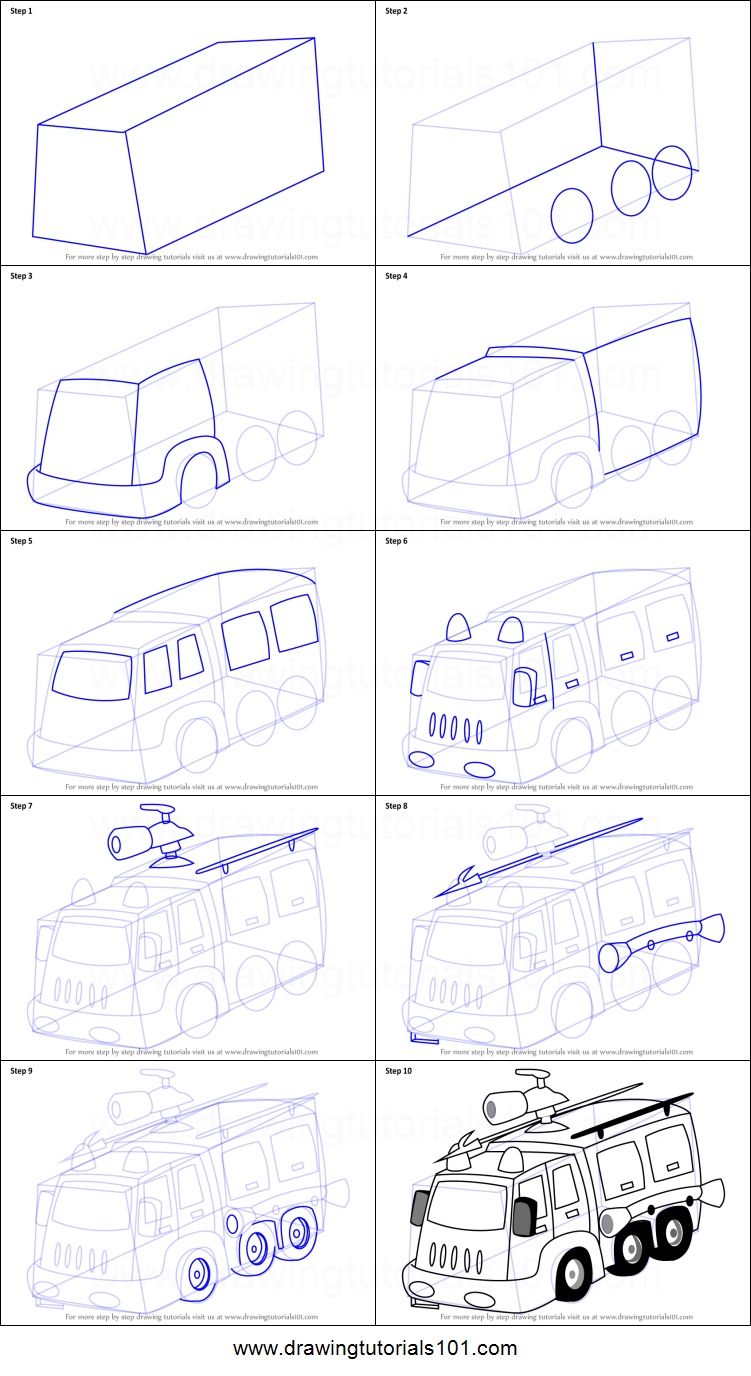 How To Draw A Fire Truck : truck, Fighter, Truck, Printable, Drawing, Sheet, DrawingTutorials101.com