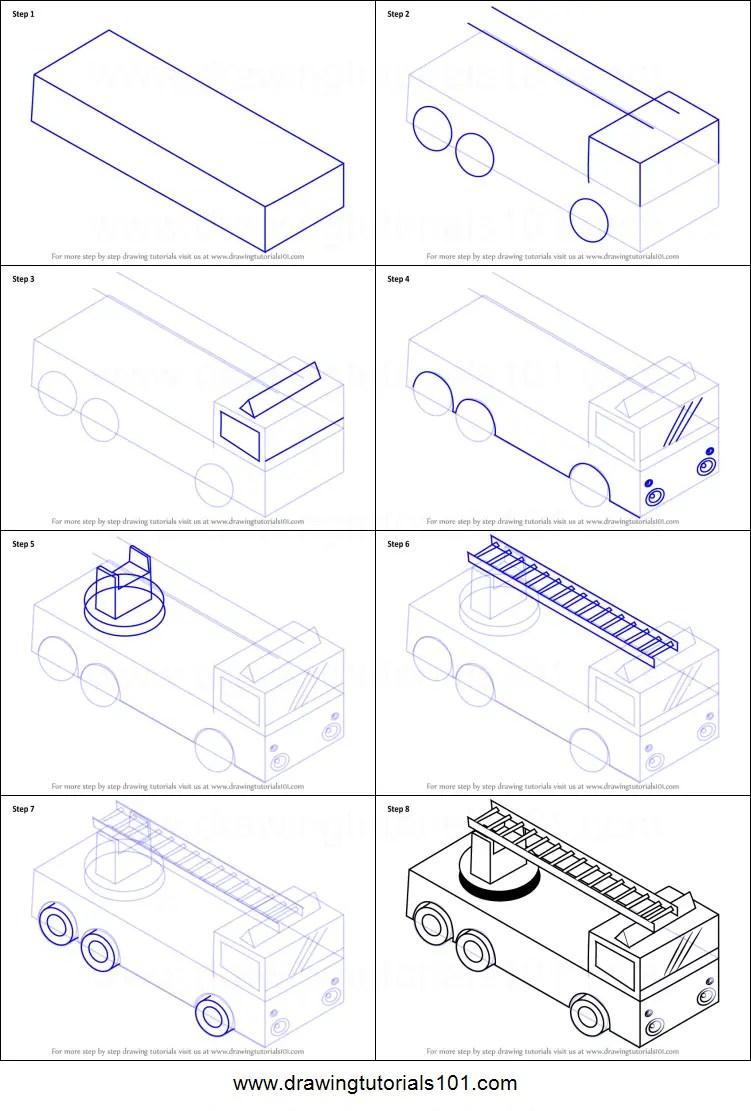 How To Draw A Fire Truck : truck, Truck, Ladder, Printable, Drawing, Sheet, DrawingTutorials101.com