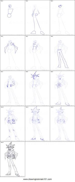 draw yugi yu gi oh dark drawing step drawingtutorials101 anime