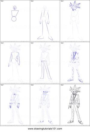 yu gi yugi draw oh muto drawing step manga printable anime tutorials drawingtutorials101 sheet