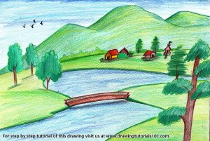landscape easy drawing beginners pencil colored pencils draw drawings landscapes step drawingtutorials101 places tutorials paintingvalley