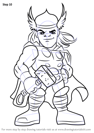 thor hero super draw squad step drawing tutorials cartoon
