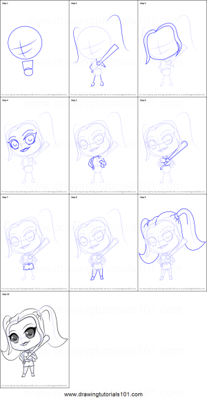 quinn harley step drawing draw chibi easy printable sheet tutorials