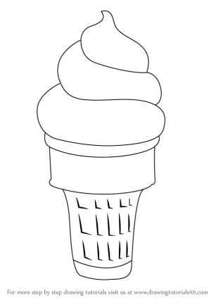 ice cream cone draw drawing step sketch creams tutorial tutorials colouring learn sketches coloring drawingtutorials101 printable sundae