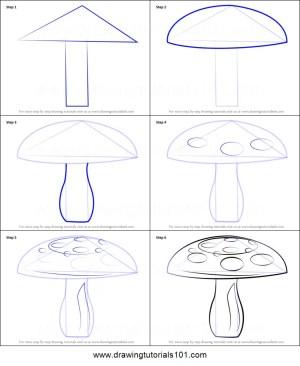 mushroom draw step drawing mushrooms printable drawingtutorials101 tutorial