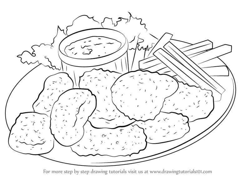 Chicken Food Drawing Easy Novocom Top