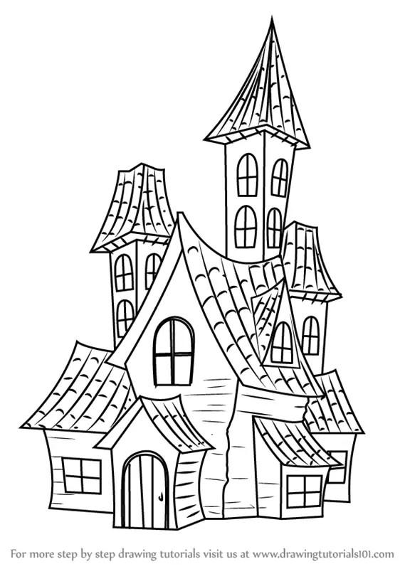 Spooky House Drawing : spooky, house, drawing, Learn, Spooky, Haunted, House, (Halloween), Drawing, Tutorials