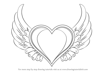 wings heart draw drawing hearts step easy coloring cool pages drawings banner