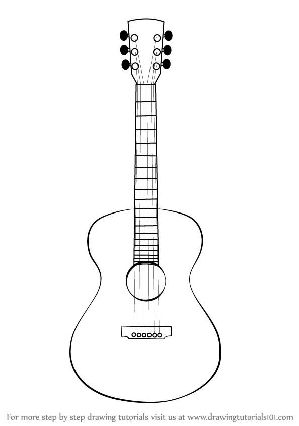Guitar Drawing Outline : guitar, drawing, outline, Guitar, Drawing