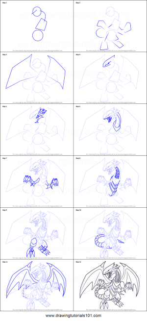dragon draw eyes yu gi oh card step drawing official printable drawingtutorials101 tutorials sheet