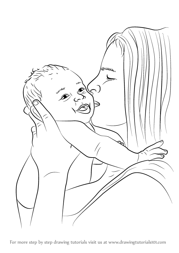 Mother And Baby Images Drawing : mother, images, drawing, Learn, Mother, Kissing, (Other, People), Drawing, Tutorials