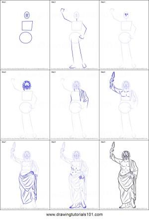 zeus draw step drawing greek gods printable drawingtutorials101 sheet
