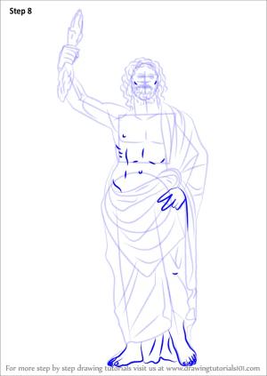 zeus drawing draw greek god step gods learn drawings tutorial paintingvalley