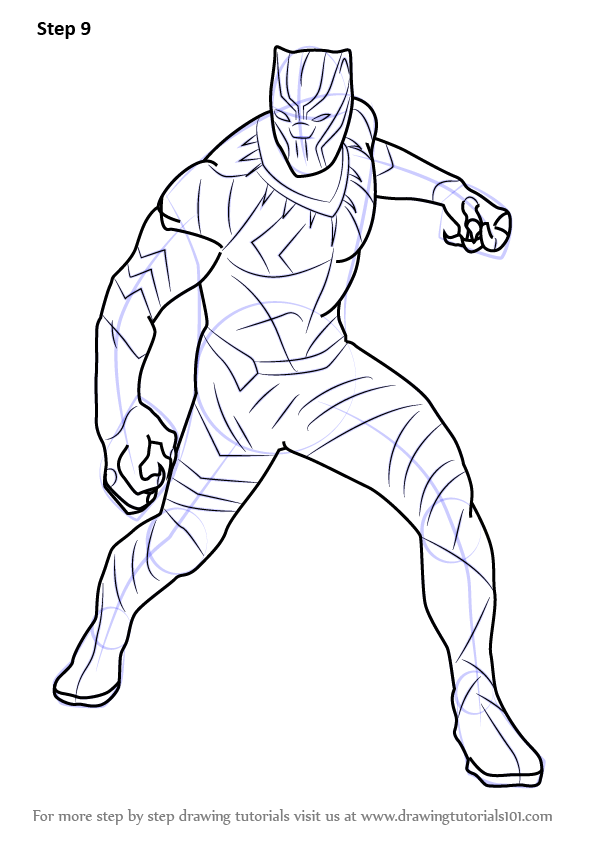 Easy Black Panther Drawing : black, panther, drawing, Learn, Black, Panther, Captain, America, Civil, (Captain, America:, Drawing, Tutorials