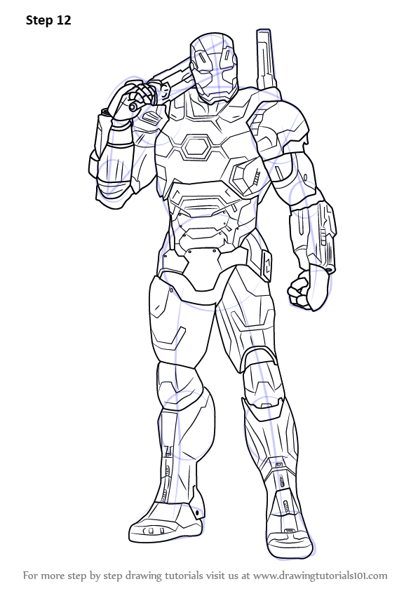 How to Draw War Machine From /Ironman Begins With His Name